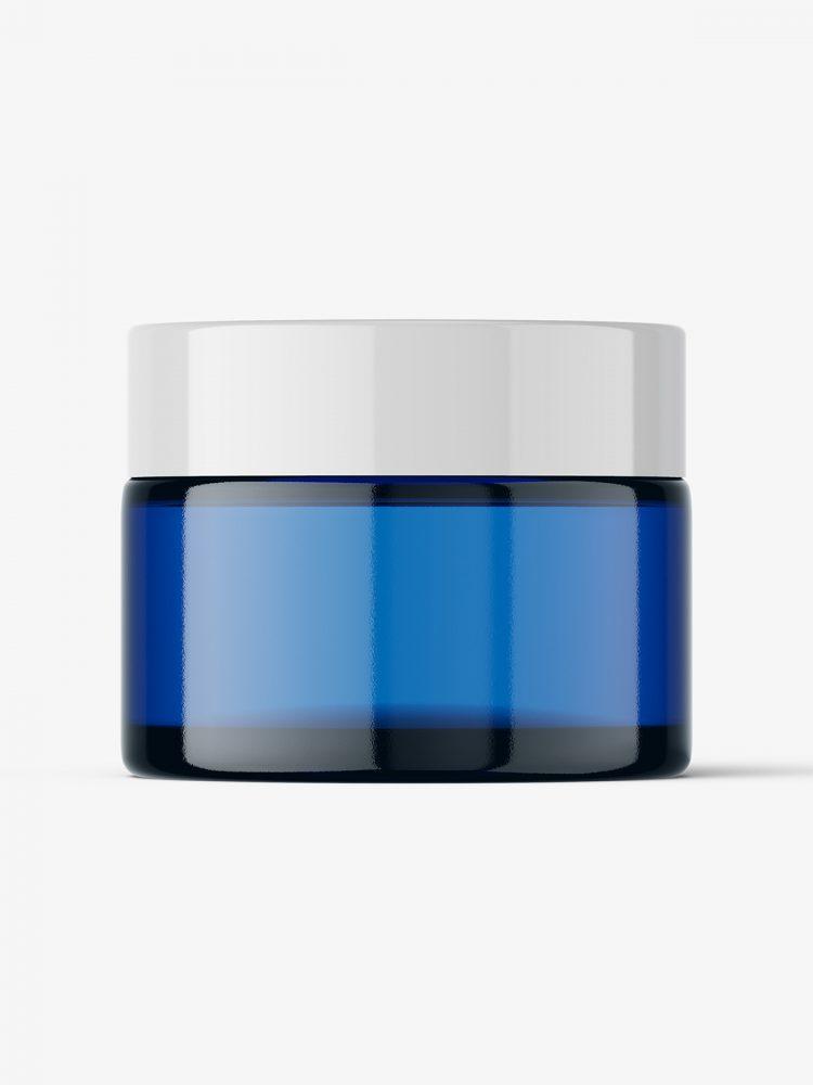 Cosmetic jar mockup / blue