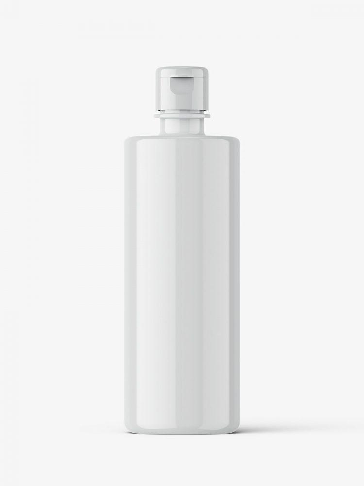 Glossy flip top bottle mockup