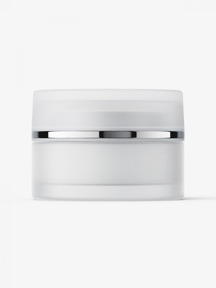 Frosted cream cosmetic jar mockup