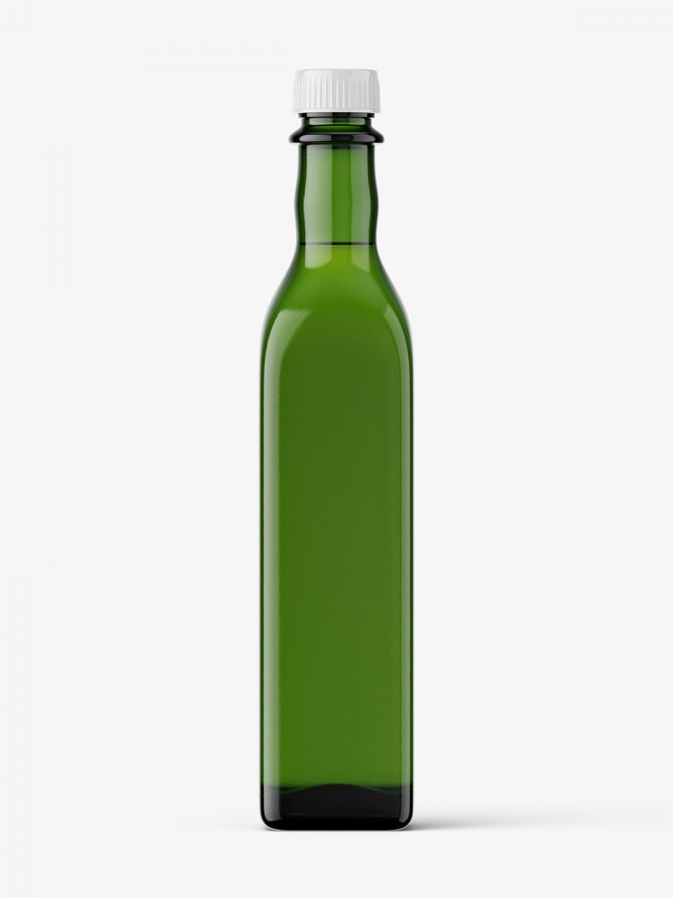 Green oil bottle mockup
