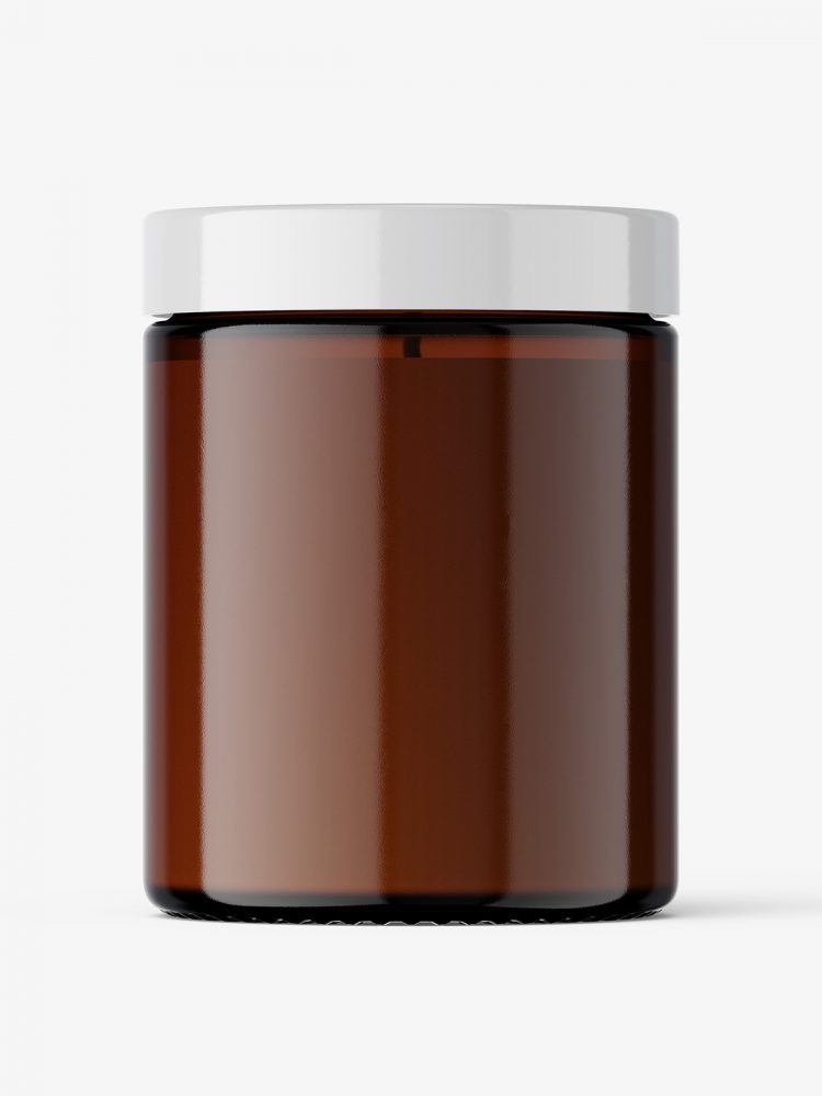 Candle in amber glass jar mockup