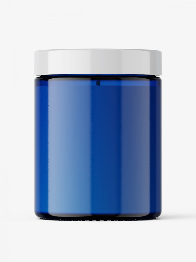Candle in blue glass jar mockup