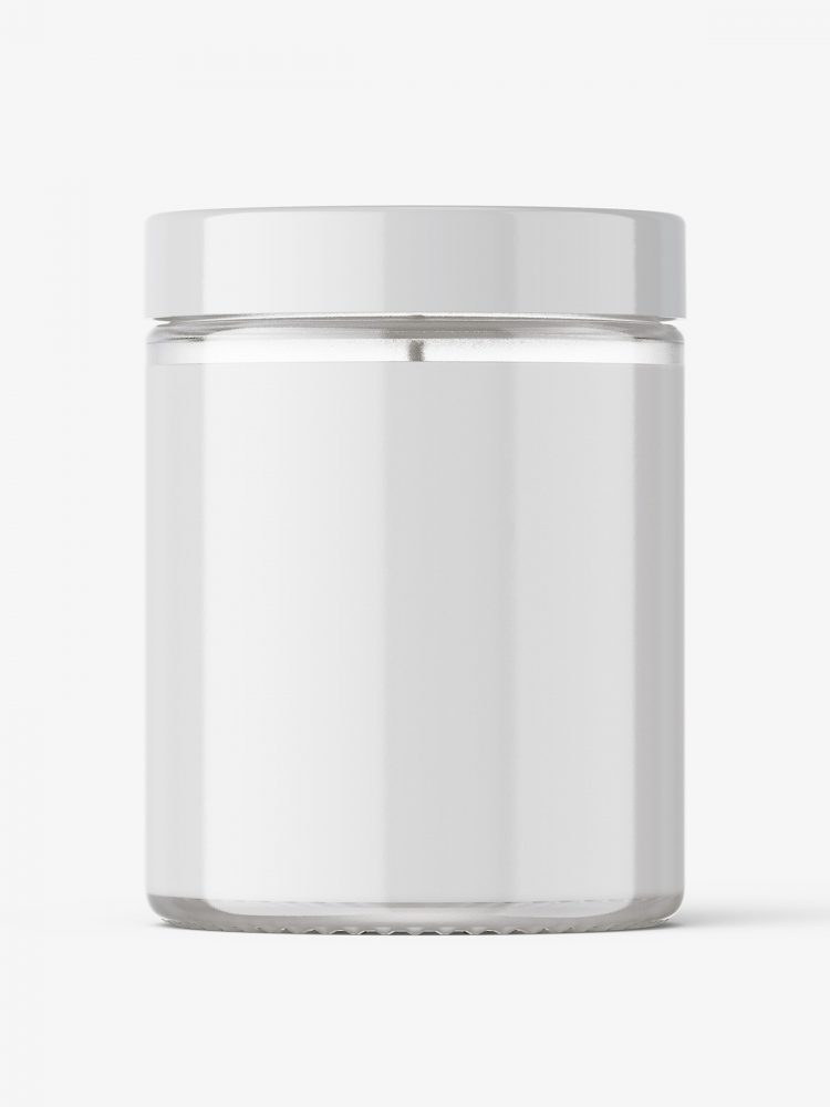 Candle in clear glass jar mockup