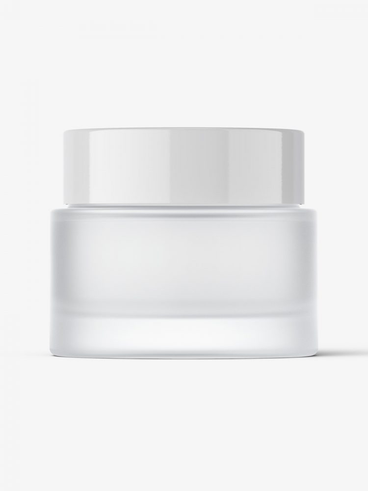 Cosmetic frosted jar mockup