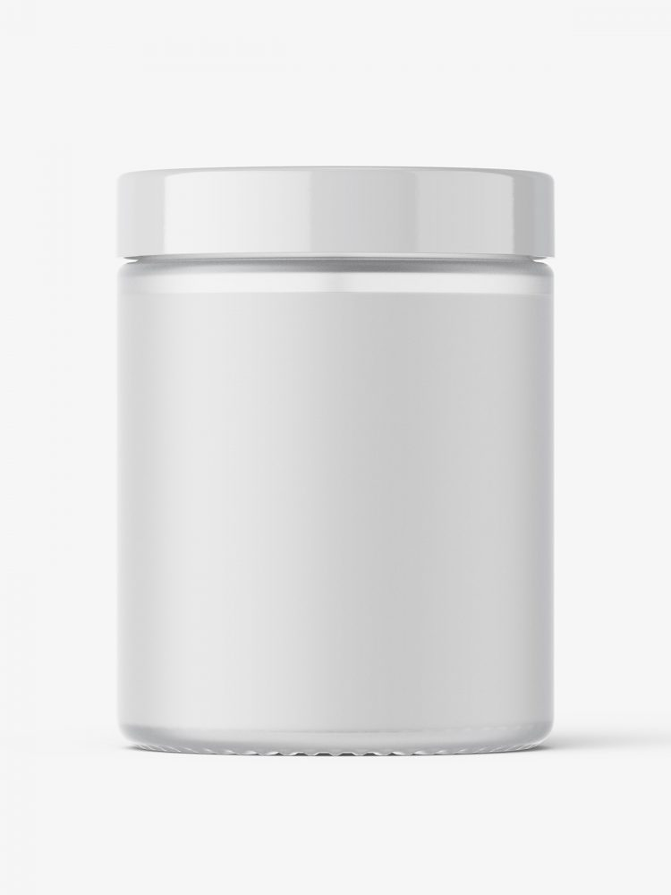 Candle in frosted glass jar mockup